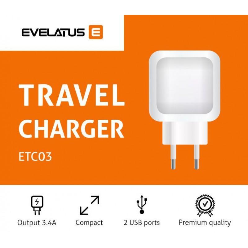 Adaptador de Energia Evelatus 2x USB 3.4A ETC03 Preto