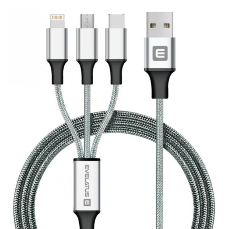 Cabo Dados USB Evelatus 3 em 1 (Lightning, Type-C, Micro USB ) LTM01 Silver