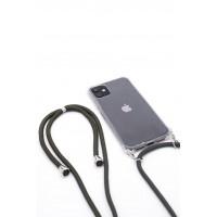 iPhone 11 Capa de Proteção Evelatus Silicone Transparente com Cordão Green