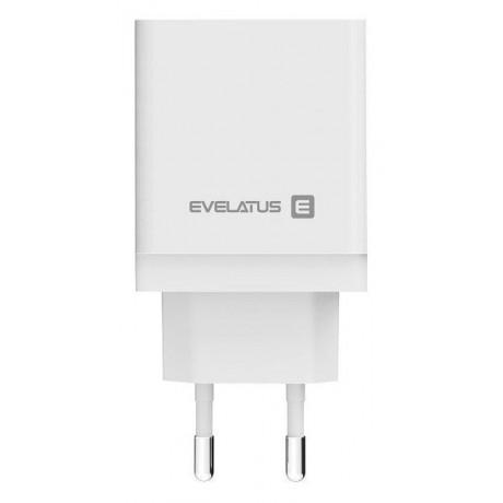 Adaptador de Carga Evelatus ETC04 USB + Type-C Branco