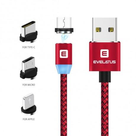 Cabo Dados USB Evelatus 3 em 1 Magnético (Lightning, Type-C, Micro USB ) LTM02 Red