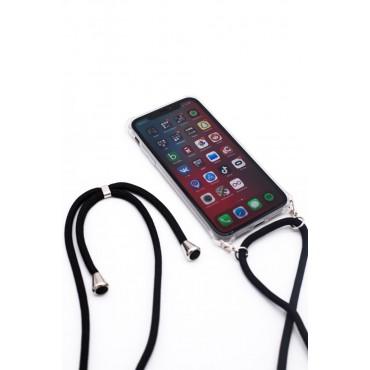 iPhone 11 Capa de Proteção Evelatus Silicone Transparente com Cordão Black