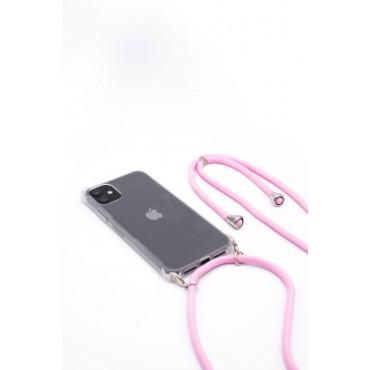 iPhone 11 Capa de Proteção Evelatus Silicone Transparente com Cordão Pink
