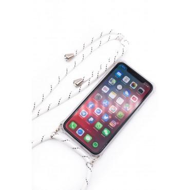 iPhone 11 Capa de Proteção Evelatus Silicone Transparente com Cordão White Stripes