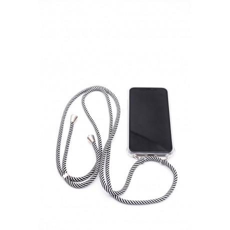 iPhone 11  Capa de Proteção Evelatus Silicone Transparente com Cordão Black Stripes