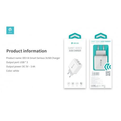 Adaptador de Carga Devia Smart series USB 3 port charger 17W